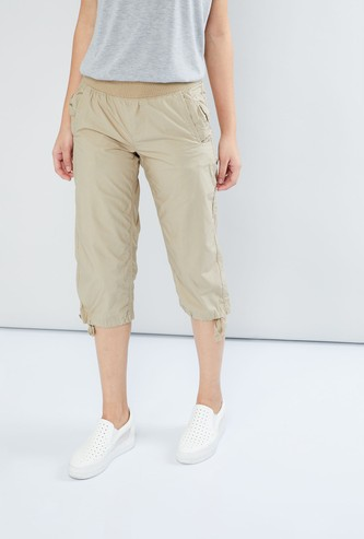 MAX Tie-Up Hem Solid Capris