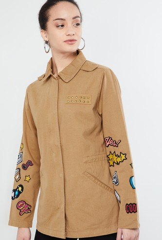 MAX Graphic Applique Jacket with Concealed Button Placket