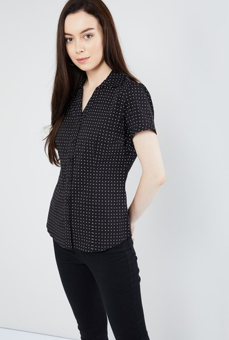 MAX Polka-Dot Print Short-Sleeve Shirt
