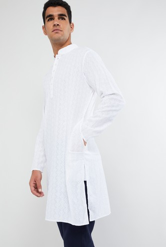 MAX Mandarin Collar Long Sleeve Textured Kurta