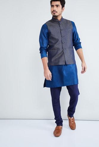 MAX Mandarin Collar Textured Nehru Jacket