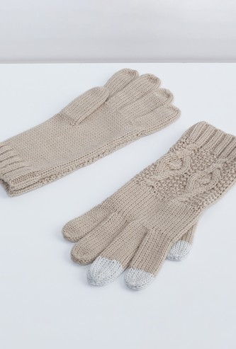 MAX Solid Patterned Knit Gloves