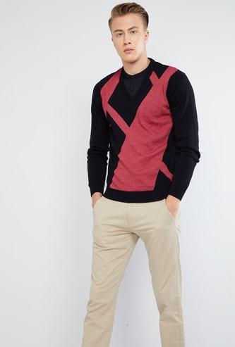 MAX Colourblock Long Sleeve Sweater