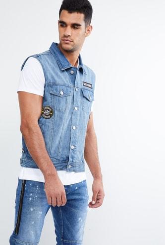 MAX Applique Detail Sleeveless Denim Jacket