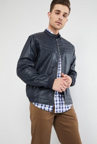 MAX Solid Panelled Zip-Up Jacket