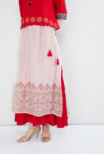 MAX Printed Layered Maxi Skirt