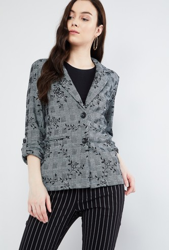 MAX Roll-Up Sleeves Floral Print Jacket