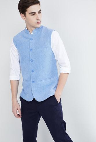 MAX Buttoned Band Collar Nehru Jacket