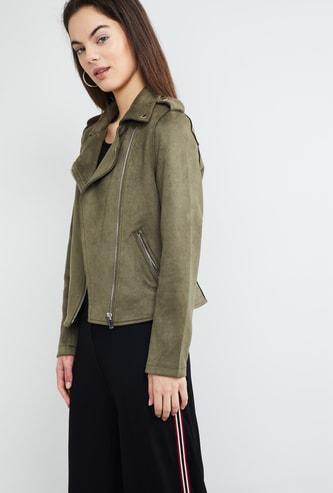 MAX Solid Notch Lapel Zip-Closure Jacket