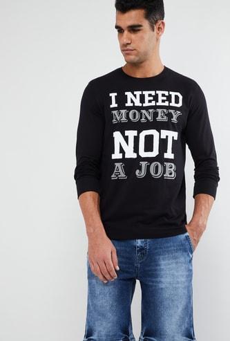 MAX Chest Print Long Sleeve Crew Neck T-shirt