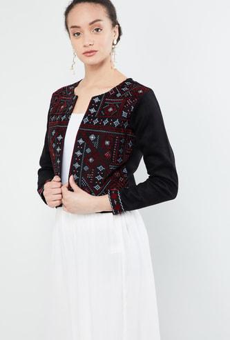 MAX Printed Mirrow-Work Ethnic Jacket