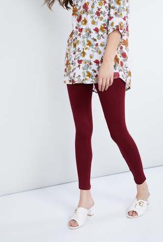 MAX Solid Leggings With an Elasticated Waistband