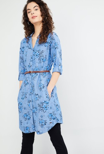 MAX Floral Print Rolled-Up Sleeves Tunic