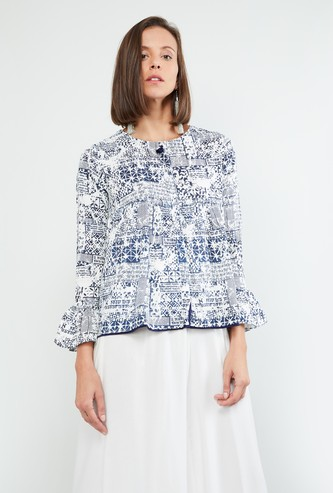 MAX Bell Sleeve Printed A-line Top