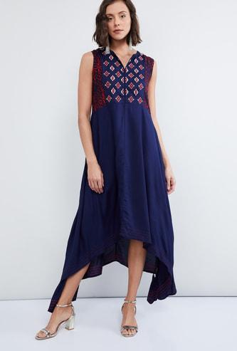 MAX Dipped Hems Printed Sleeveless Maxi Dress