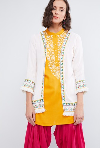 MAX Embroidered Frayed Hem Ethnic Jacket