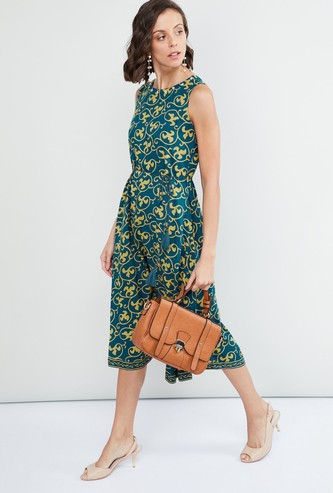 MAX Printed Tie-Up Waist Dress