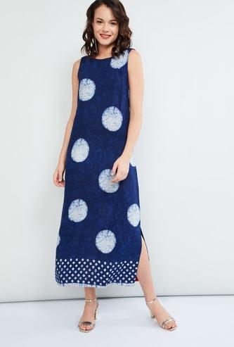 MAX Polka Dot Print Sleeveless Maxi Dress