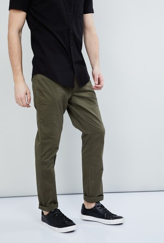 MAX Solid Flat-Front Slim Fit Chinos