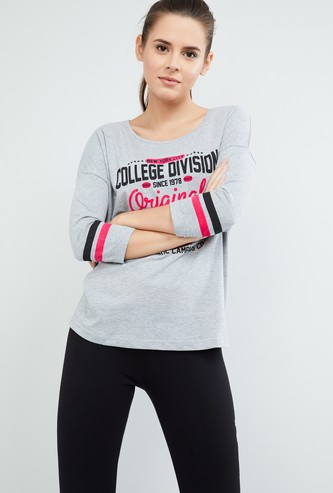MAX Printed Round Neck T-shirt With Striped Sleeves