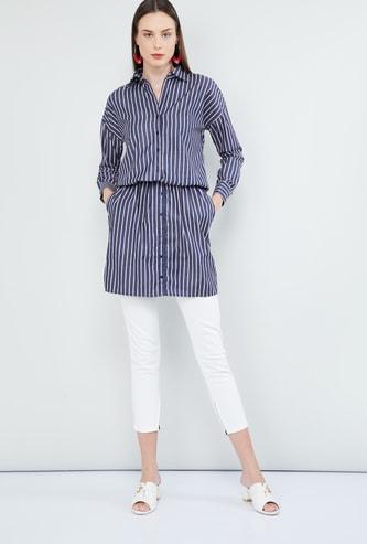 MAX Striped Longline Shirt Style Tunic