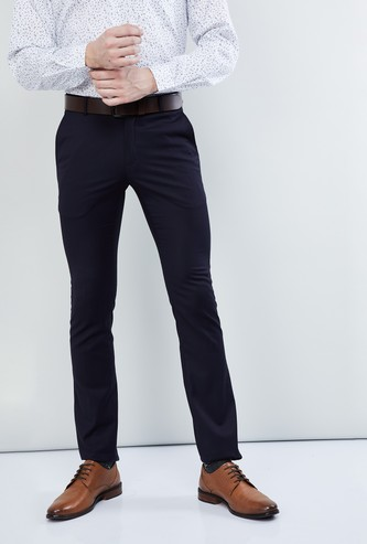 MAX Solid Flat-Front Slim Fit Formal Trousers
