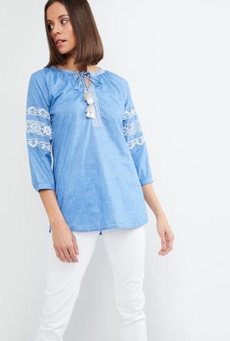 MAX Embroidered Drop-Shoulder Top