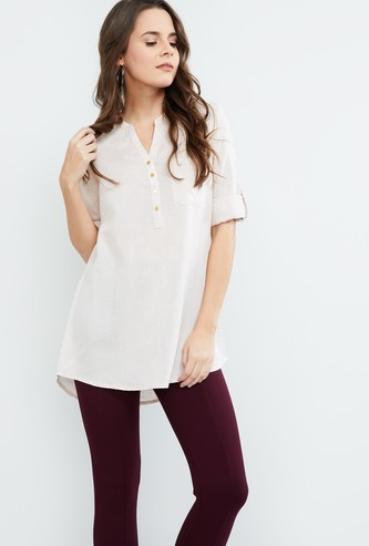 MAX Solid Rolled-up Sleeve Tunic