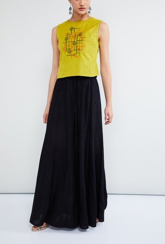 MAX Solid Flared Maxi Skirt
