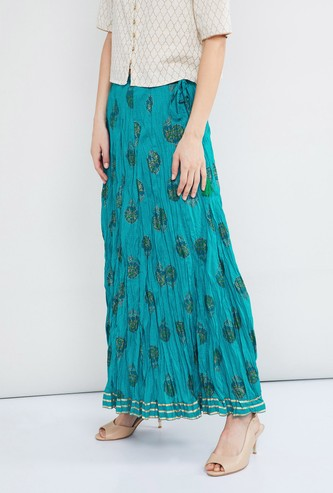 MAX Printed Tassel Detailed Skirt