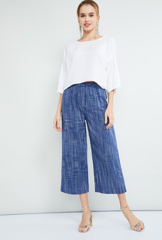 MAX Checked Culottes with Elasticated Waist