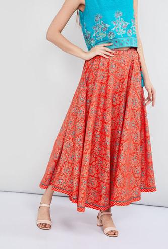 MAX Printed Tassel Detail Maxi Skirt