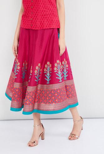 MAX Printed Ethnic Midi Skirt