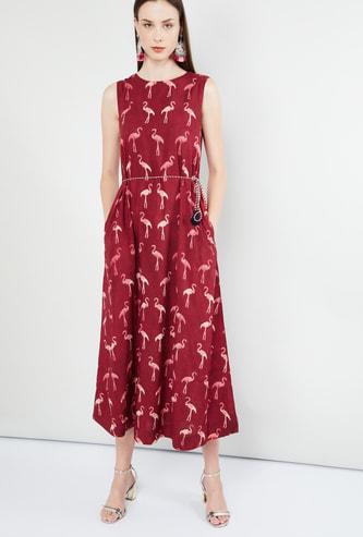MAX Animal Print Sleeveless Midi Dress