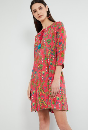 MAX Floral Print Three-Quarter Sleeves Dress