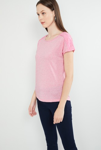 MAX Solid Top with Lace Detailing