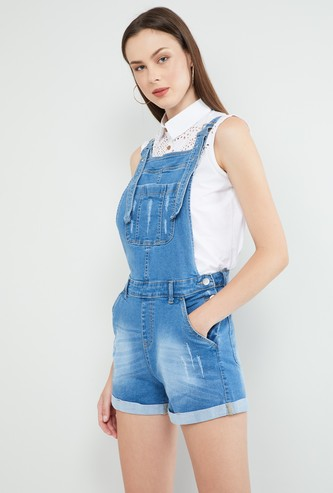 MAX Lightly Washed Distressed Denim Dungaree