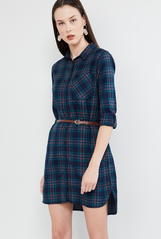 MAX Checked Rolled-Up Sleeves Dress