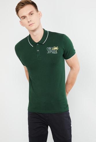 MAX Typographic Print Short Sleeves Polo T-shirt
