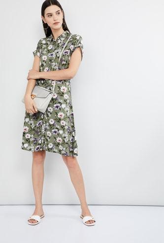 MAX Floral Print Upturned Sleeves Dress