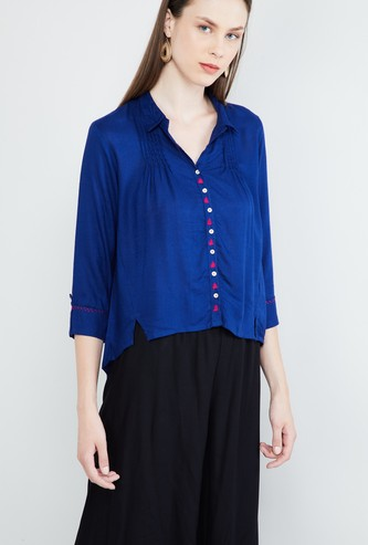 MAX Roll-Up Sleeves High-Low Shirt