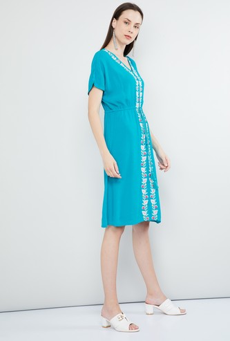 MAX Embroidered Short Sleeves Dress