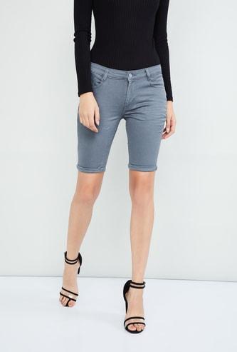 MAX Solid Skinny Denim Shorts