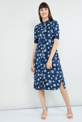 MAX Roll-Up Sleeves Printed Midi Dress