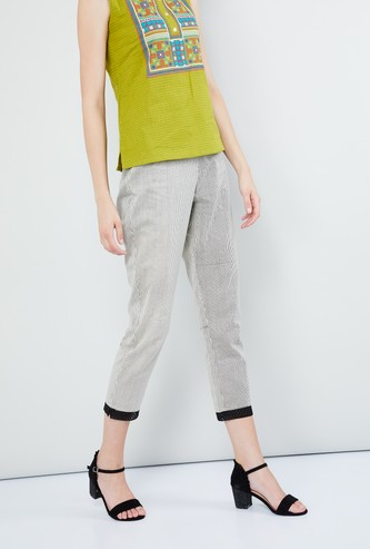 MAX Pin Striped Cropped Pants