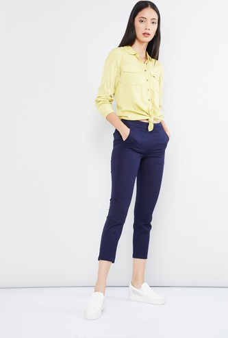 MAX High-Rise Solid Cropped Pants