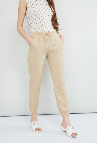 MAX Solid Pleated-front Tie-up Waist Slim Fit Trousers