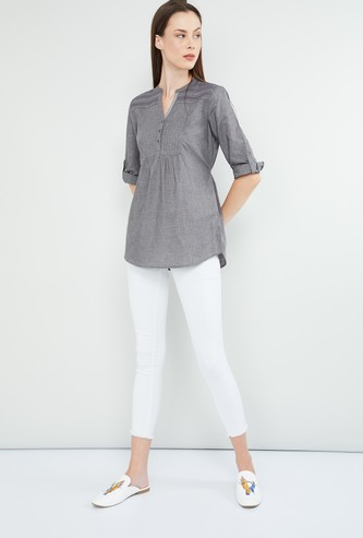 MAX Solid Pleated Detailed Tunic