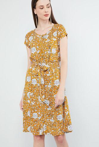 MAX Dot Print Cap Sleeves Dress