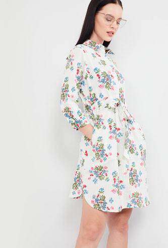 MAX Floral Print Three-quarter Sleeves Dress
